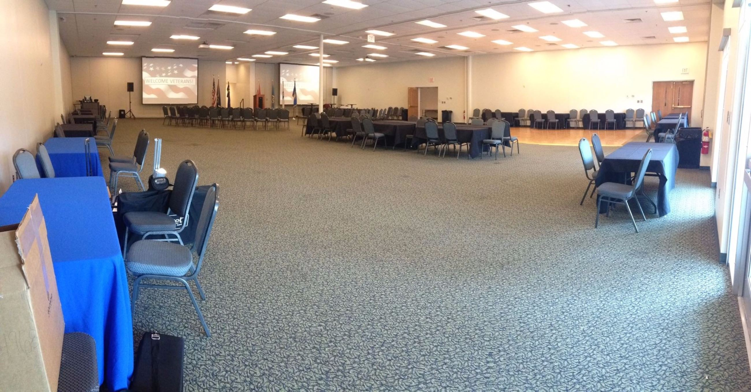 Conference Center Full Room Set Up for Multiple Vendors for Veteran's Forum
