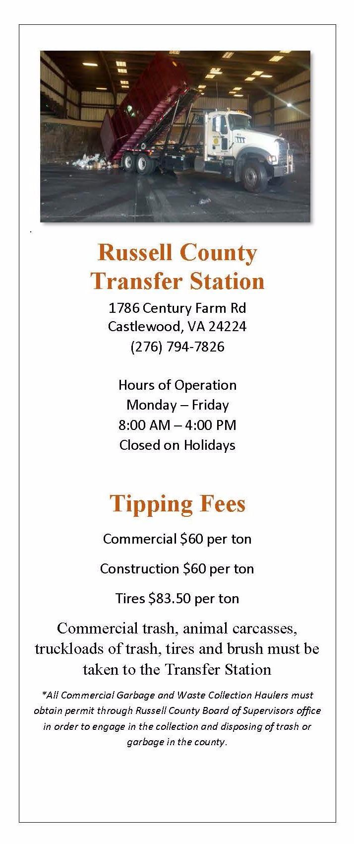 Russell County Transfer Station Information