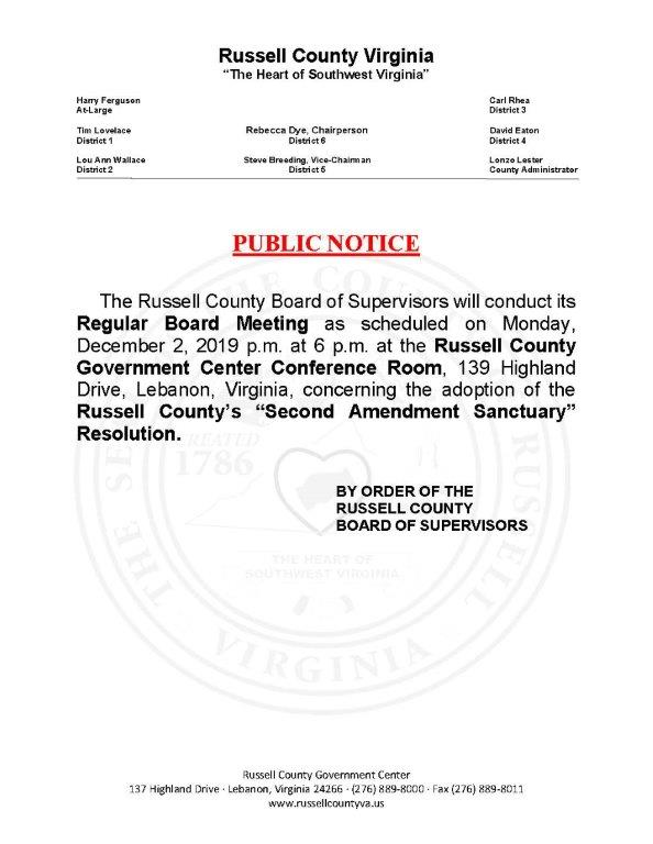 Public Notice - 2nd Admendment Resolution
